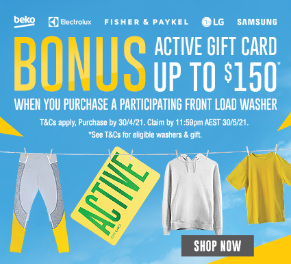 Bonus Active Gift Card with Selected Front Load Washing Machines