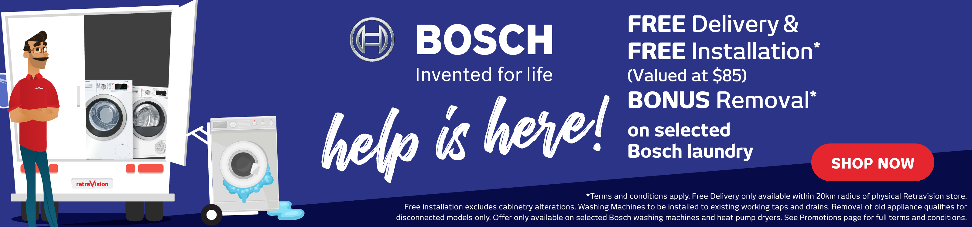 Free Delivery, Install & Removal on selected Bosch Laundry