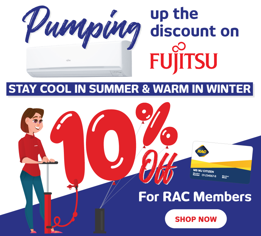 RAC Double Discount on Fujitsu Air Con