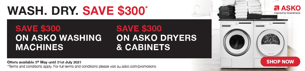 Save $300 on selected Asko Washers and Dryers
