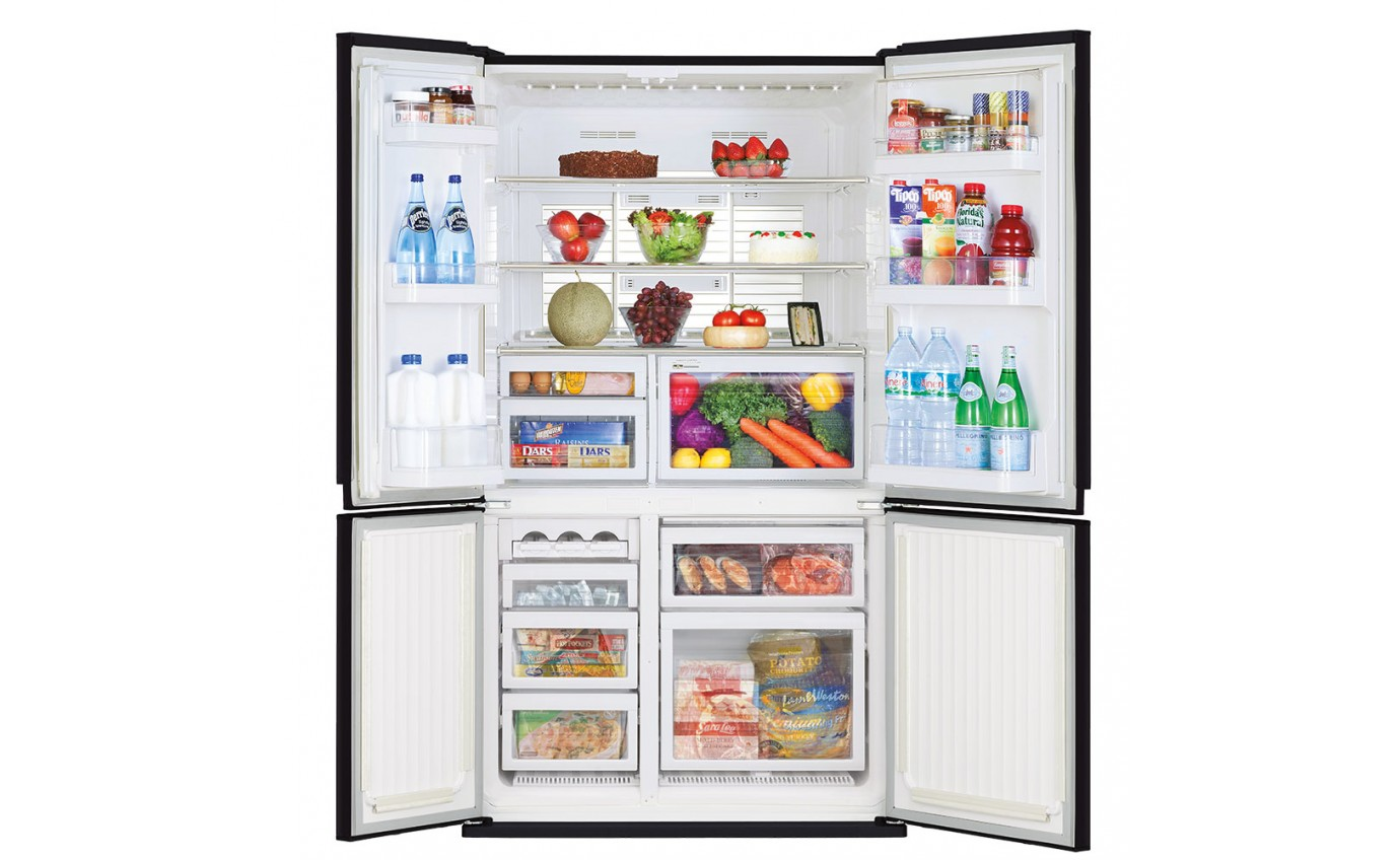 Mitsubishi 650L Glass Grande French Door Fridge MRL650ENGBKA2