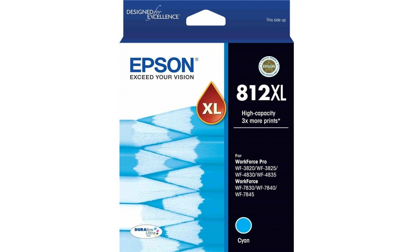 Epson 812XL - High Capacity DURABrite Ultra - Cyan Ink Cartridge T05E292