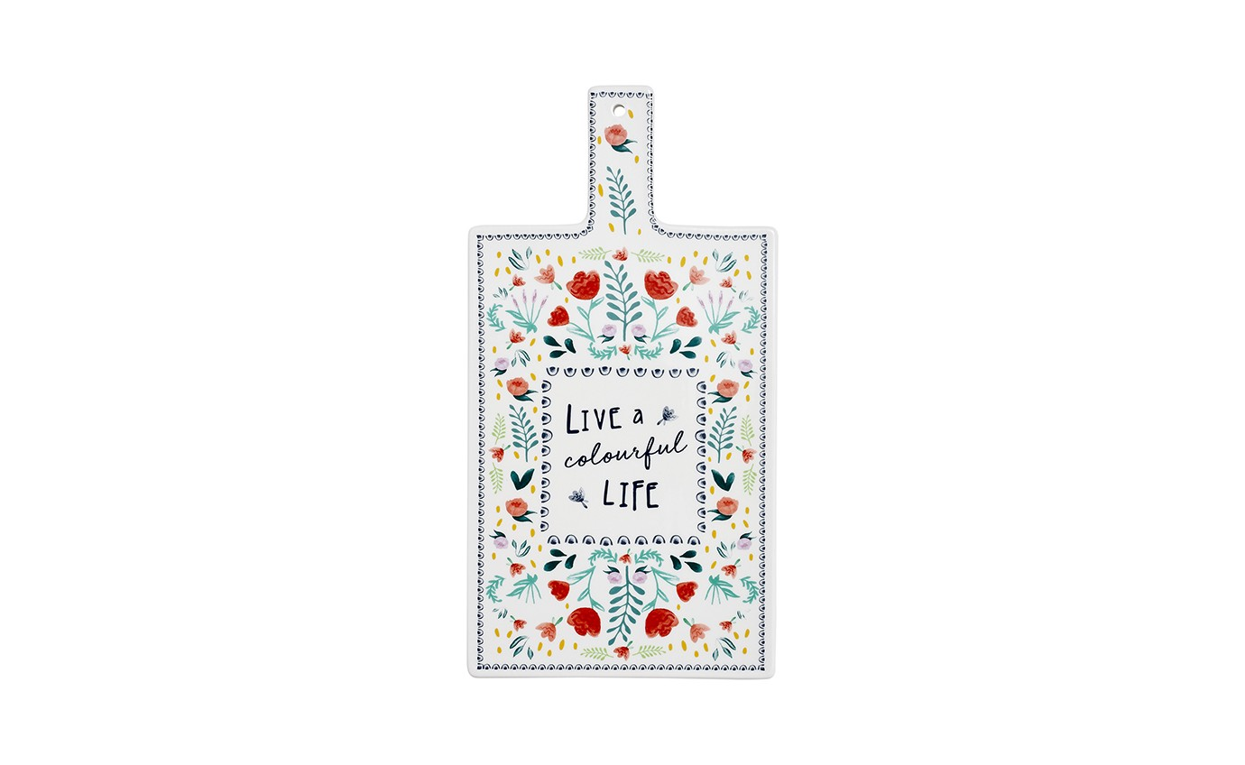 Ladelle Villa Floral Colourful Life Serving Board 62096