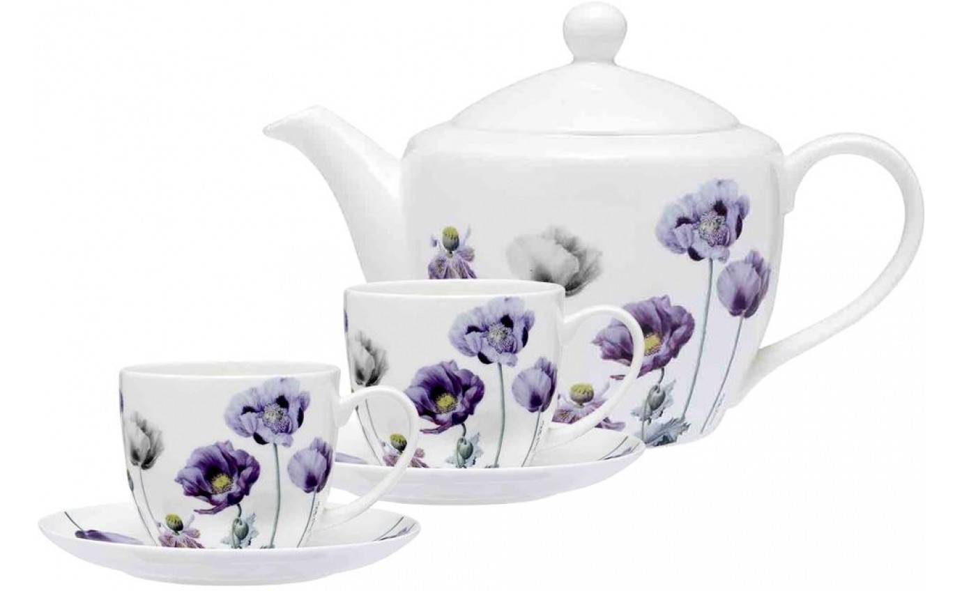 Ashdene Purple Poppies AWM Teapot & 2 Teacup Set 519368