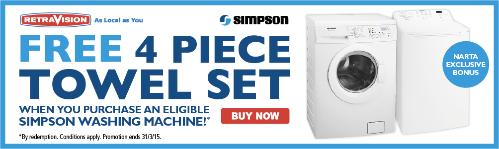 FREE 4 piece towel set when you purchase an eligible Simpson washing machine!*