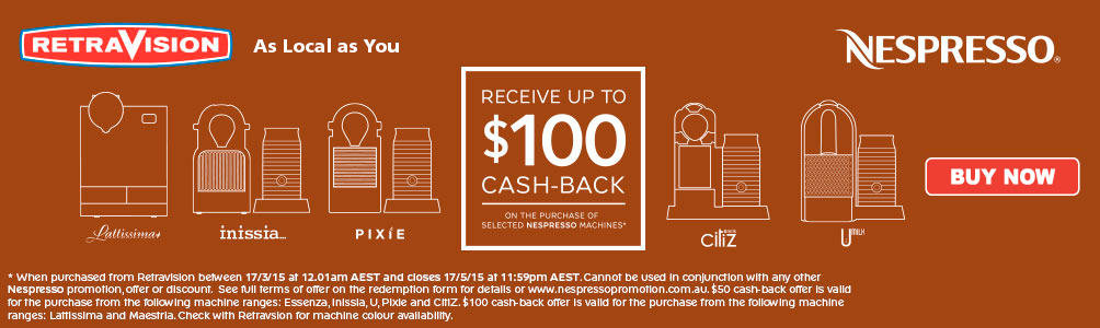 Up to $100 Cashback on selected Nespresso machines