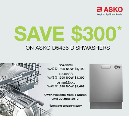 Save $300 on Asko Dishwashers