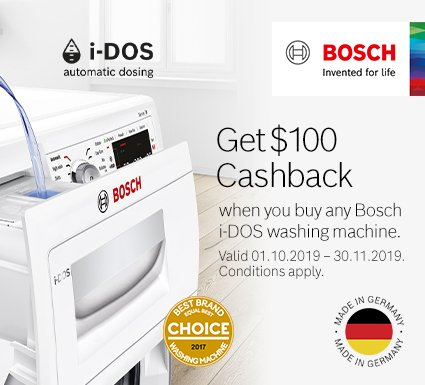 Get $100 Cashback when you buy any Bosch i-DOS washing machine