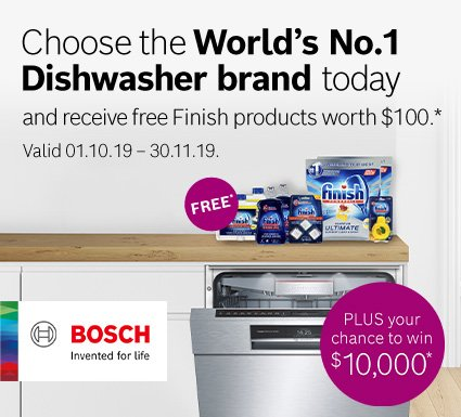 Free Finish pack with any Bosch dishwasher