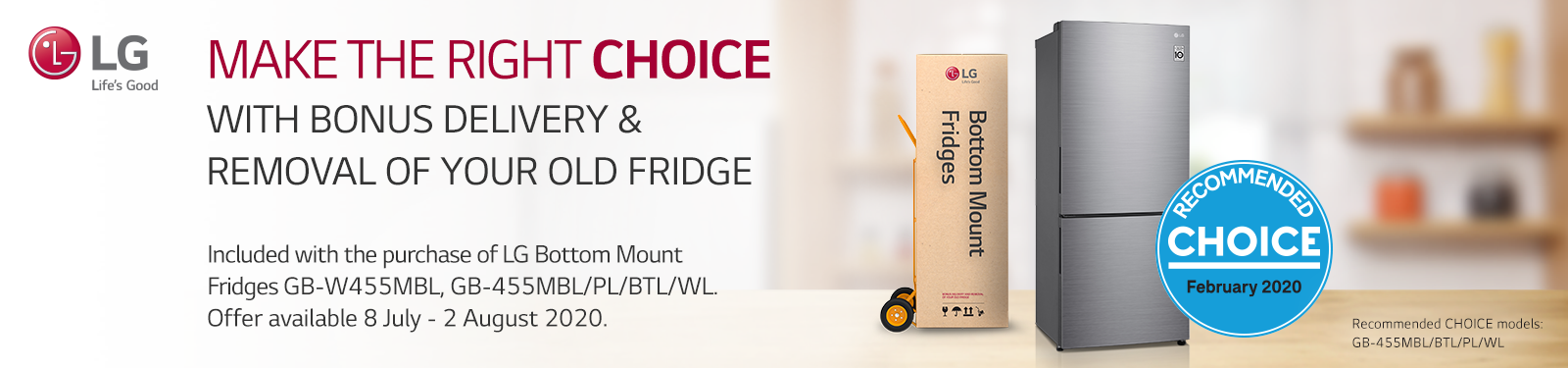 LG Bottom Mount Fridge - Free Delivery and Removal