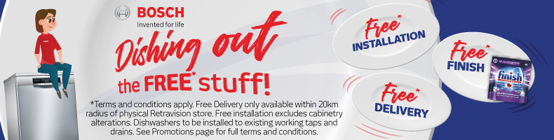 Free Delivery, Install & Finish with Bosch Dishwashers