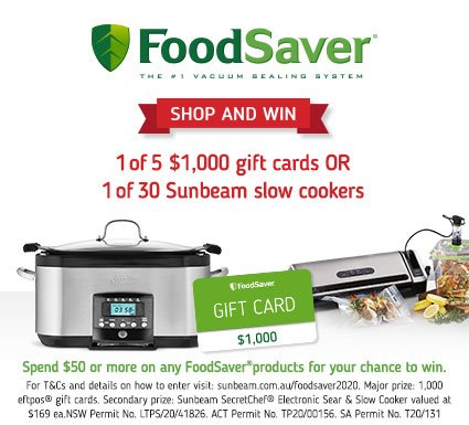 Sunbeam FoodSaver Shop & Win