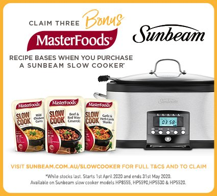 Bonus MasterFoods with Sunbeam Slow Cookers